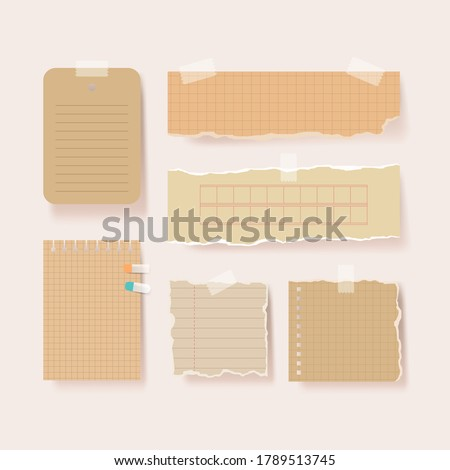 Scrapbook papers. Blank notepad pages vector illustration.Paper glued to wall with tape Stock photo ©