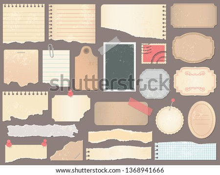 Scrapbook papers. Vintage scrapbooking paper, retro scraps pages and old antique album papers texture. Cardboard scrapbooks memo tags or notebook page. Vector illustration isolated symbols set