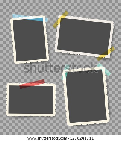 Scrapbook photo pictures. Vintage blank photoframes with stickers isolated on transparent, retro wall photos with sticky pins, vector illustration #1278241711