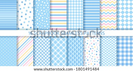 Scrapbook seamless pattern. Baby boy backgrounds. Vector. Set textures with star, polka dots, stripes, zigzag and plaid. Cute retro prints. Pastel blue illustration. Trendy packing papers.