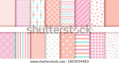 Scrapbook seamless pattern. Baby girl background. Vector. Set baby shower textures with stripe, zigzag, polka dot, heart, plaid. Cute print. Pastel pink illustration. Packing paper. Geometric backdrop