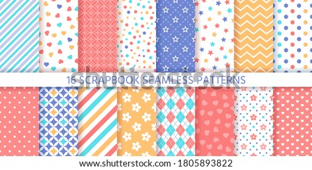 Scrapbook seamless pattern. Vector. Cute backgrounds. Set prints with polka dot, heart, flower, star, zigzag and rhombus. Colorful illustration. Trendy packing papers. Retro textures. Chic backdrops.