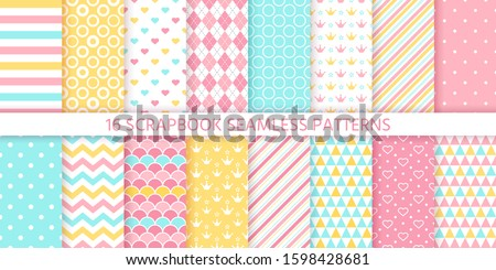 Scrapbook seamless pattern. Vector. Cute birthday prints. Set textures with polka dot, stripe, zigzag, heart, crown, fish scale. Pastel illustration. Retro backgrounds. Geometric trendy color backdrop