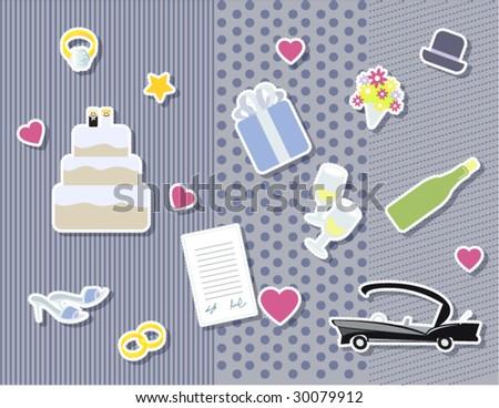stock vector scrapbook wedding stuff