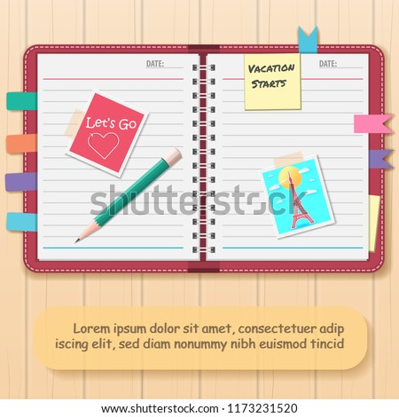 Scrapbooking album with travel elements. Paper objects for your travel around the world and vacation layouts on Background. blank space for text and content paper art, vector, banner, Card, Poster,