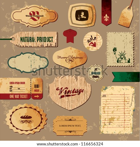 Scrapbooking collection. Vintage Retro Labels and Badges. Old paper background.