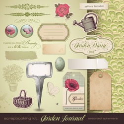 scrapbooking kit: Gardening - assorted ephemera