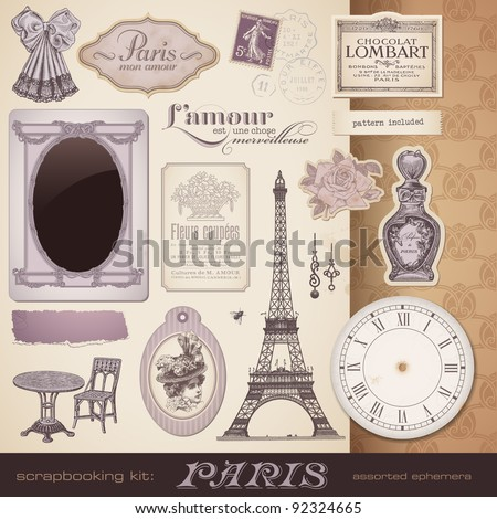 scrapbooking kit Paris romantic vintage design elements and ephemera also perfect for Valentine's day