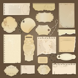 Scrapbooking ripped old papers. Vector vintage paper memos with aged textures for scrapbookers, antique scrapbooks blank elements, torned retro stickers, tags and cards