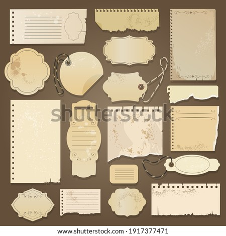 Scrapbooking ripped old papers. Vector vintage paper memos with aged textures for scrapbookers, antique scrapbooks blank elements, torned retro stickers, tags and cards Stock photo ©