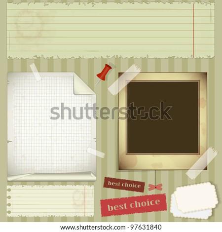 scrapbooking set - old paper, photo frame - vector illustration