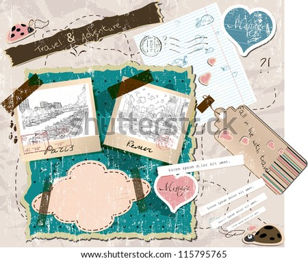 scrapbooking set with stamps and photo frames. vector illustration EPS10