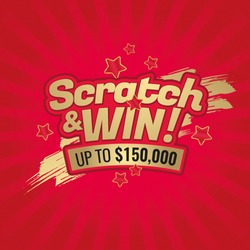 Scratch and win letters. Scratched effect background and stars. Place for prize. For tickets, signs, promotion announcements, banners. Golden colors letters. CMYK colors. Vector illustration