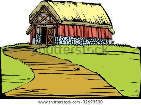 Scratch board image of a red barn with a turf roof sitting on a hill.