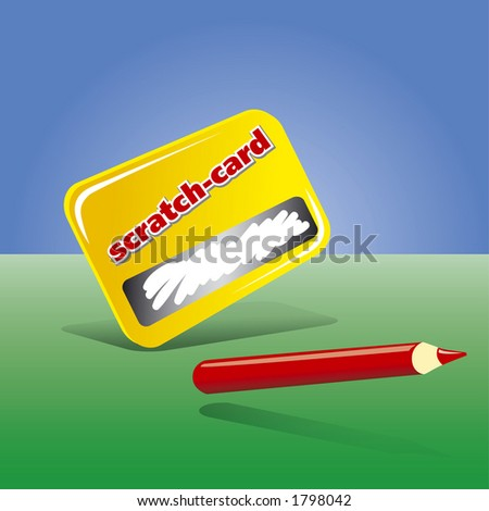 Scratch Card & Pencil  (Fully Editable Vector Image)