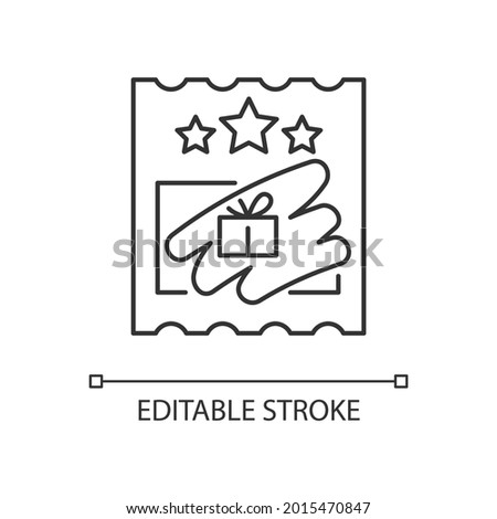 Scratch cards linear icon. Scratching off covering for prize reveal. Paper-based card. Thin line customizable illustration. Contour symbol. Vector isolated outline drawing. Editable stroke Photo stock ©