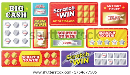 Scratch cards. Lottery games cards with lucky winning tickets and loser scratch marks. Gambling, fast win jackpot, scratching vector coupons. Big royal cash. Chance to win in competition..