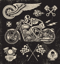 Scratchboard Motorcycle Elements