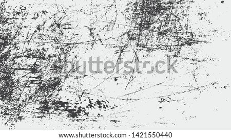 Scratched Grunge Urban Background Texture Vector. Dust Overlay Distress Grainy Grungy Effect. Distressed Backdrop Vector Illustration. White on Black Background. EPS 10.
