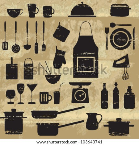 Scratched kitchen and restaurant related silhouettes on old paper