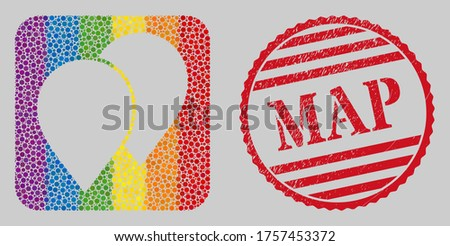 Scratched Map stamp seal and mosaic map pointers subtracted for LGBT. Dotted rounded rectangle mosaic is around map pointers subtracted space. LGBT spectrum colors.