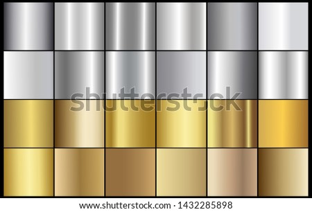 Scratched metal chrome gold silver texture vector icon set. Shiny brushed vector metallic gradient grunge background silver for banner, label, medal, button. Silver abstract chrome gradient collection