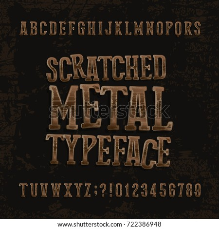 Scratched metal typeface. Retro alphabet font. Metallic letters and numbers on a dark rough background. Stock vector vintage typeset for your headers or any typography design.