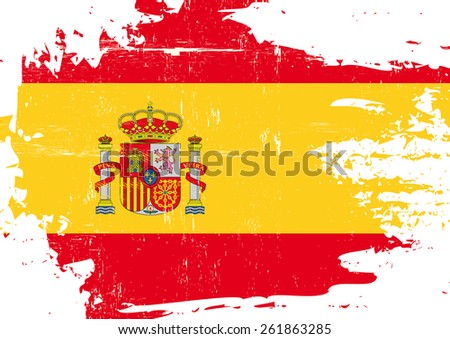scratched spanish flag a flag
