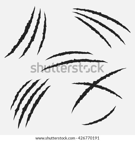 scratches by claws vector set