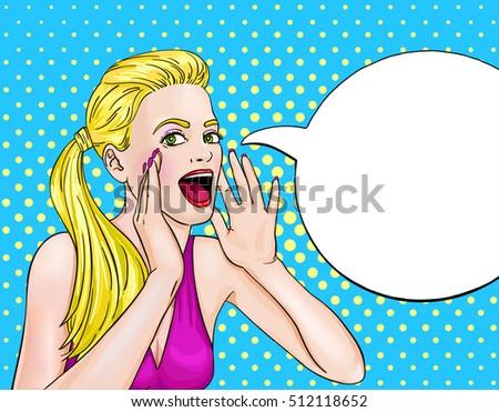 screaming blonde woman pop art