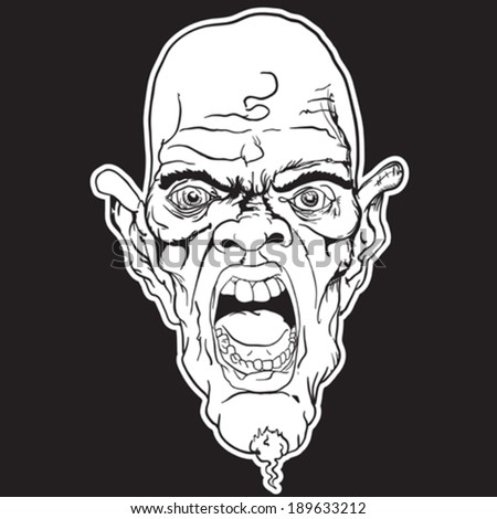 screaming face black and white cartoon