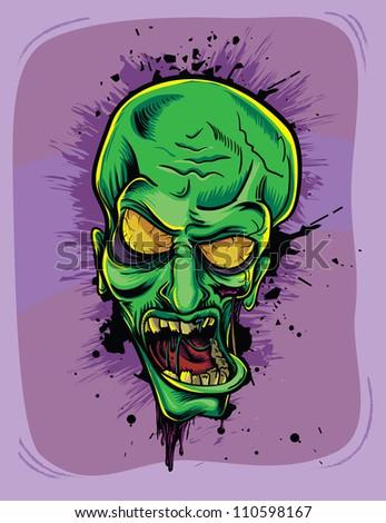 Screaming green zombie. Halloween poster