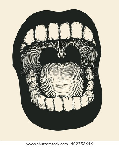 Screaming mouth. Drawing Style. Vector illustration.