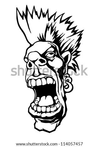 screaming punk head. cartoon character. vector background
