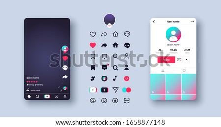 Screen and icon templates. App web buttons layouts, ui. Mockup application page user interface. Social media Tik Tok concept. Vector illustration. EPS 10