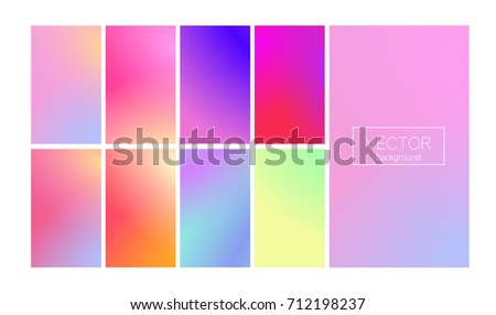 Screen gradient set with modern abstract backgrounds. Colorful fluid cover for poster, banner, flyer and presentation. Trendy soft color. Template with screen gradient set for screens and mobile app