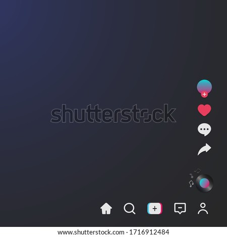 Screen interface and tik tok icons.  Social media application. Photo frame design app post template. Vector illustration Stock fotó ©