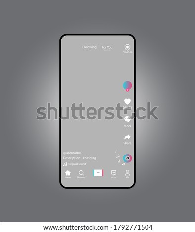 Screen interface in social media application isolated on grey background.Layout profile app bar.Grey background.Music, video, stream.frame design app post template.Blogging. Stock fotó ©
