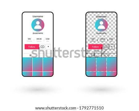 Screen interface in social media application isolated on white background.Layout profile app bar.Transparent background.Music, video, stream.frame design app post template.Blogging. Stock fotó ©