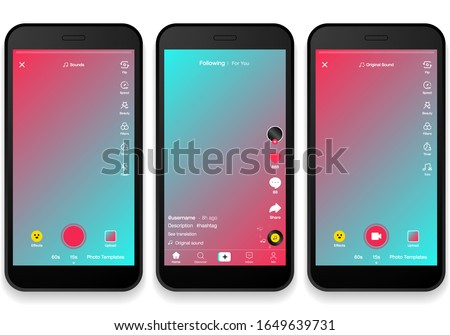 Screen interface in social media application. Music and video app icons. Photo frame design app post template. Vector mock up illustration