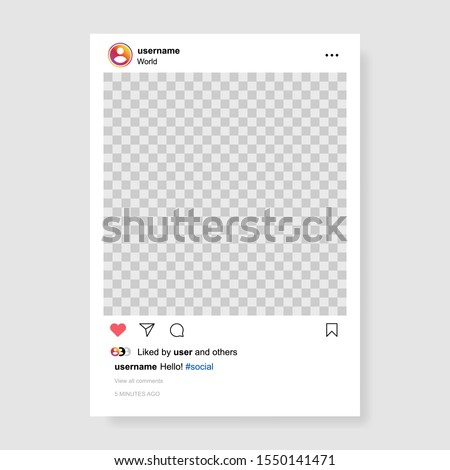 Screen interface in social media instagram application. Photo frame design app post template. Vector mock up illustration