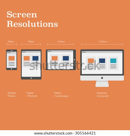 Vector Images Illustrations And Cliparts Screen Resolutions Preview With Pixel Dimensions Website Layout On Different Devices Flat Design Illustration Hqvectors Com