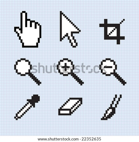 Screen tools. Illustration of popular icons on a separate grid background.