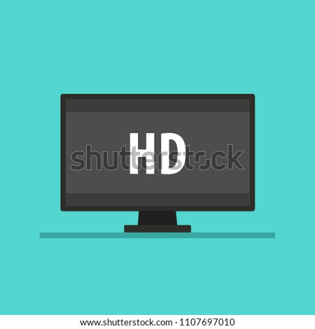 Screen tv with HD video technology. Led television display HD. Vector stock.