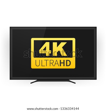 Screen tv with 4k Ultra HD video technology. 4K Screen Resolution Smart TV. Ultra HD Monitor. Vector stock illustration.