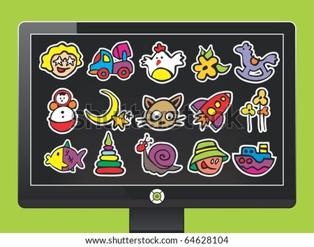 screen with interesting cartoon icons