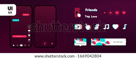 Screen with video on mobile. UI template big bundle for social media networks. Icons, logo, tutorial, animation and notification set. Mobile interface kit. Vector illustration tik tok mock up