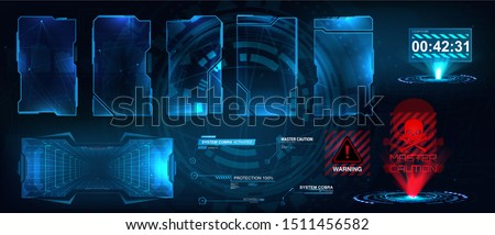 Screens HUD, UI, GUI futuristic interface. Callouts titles. Head up screens for video games, apps, movie. Sky-fi holograms, warning in the form of holograms - attention, danger, countdown. Vector set