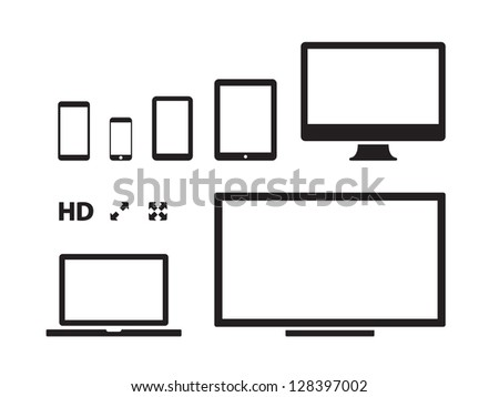 Screens on white background. Vector illustration.