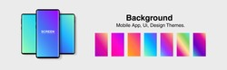 Screens vibrant gradient set background for smartphones and mobile phones. Background for mobile app, ui, design theme. vector
